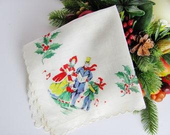 Handkerchief Christmas White Printed Rayon or Silk Carolers 12 1/2 X 12  1/2 Inches Semi-Sheer