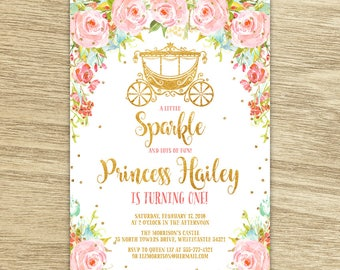Sweet Floral Princess Birthday Invitation, Royal Princess Party, Watercolor Pink Flowers and Carriage Princess Party Printable Invitation