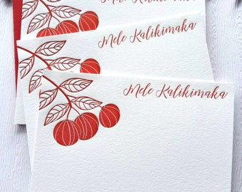 Mele Kalikimaka Letterpress Holiday Card Set Pumpkin Cherry Ruby Red
