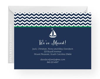Sailing On Nautical New Address Announcement with Sail Boat, Any Color, New Home Moving Announcement, Coastal Living