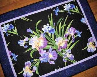 Sale Christmas in July Floral Wall Hanging Irises, Table Topper, quilted, handmade, Violet shades, fabric from Michael Miller