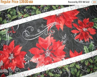 Sale Christmas in July Christmas Table Runner Elegant, Poinsietta, silver metallic, quilted,  fabric from Hoffman