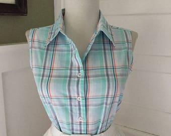 Sexy 50s Vintage Cotton Blue Purple Pink & White Pastel Gingham Plaid Button Down Sleeveless Blouse