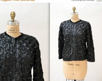 SALE 50s Vintage Black Sequin Jacket Medium Large // Vintage Black Sequin Cardigan Sweater Jacket size Medium Large