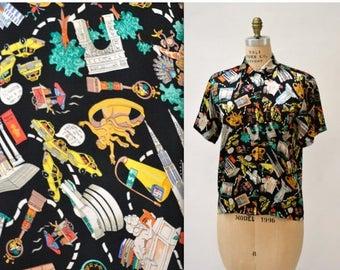 SALE Vintage Nicole Miller Silk Shirt NYC New York City Print Size Small Medium// Vintage New York City Print Silk Shirt
