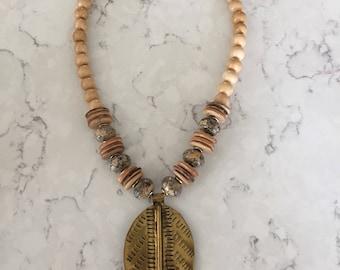 Brass leaf necklace