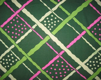 Insanely wide spectacular large scale mod check and dots polyester knit dark and lime green bright pink vintage material 2 yards