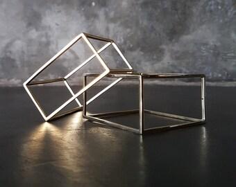 Chunky Cuff - Geometric Jewelry - Square Bangle - Brass Cuff - Architectural Jewelry - Unusual Cuff