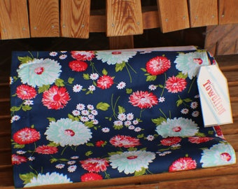 """NEW Bonnie And Camille Toweling - 16"""" The Good Life Navy Flowers 920 270 Moda Toweling"""