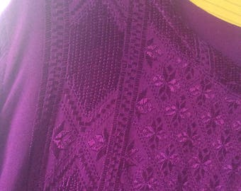 Afghan embroidered very rare tunic blouse s/m, buttons at wrists/neck/Afghani htf/skirt available. L/S. Afghanistan/euc.