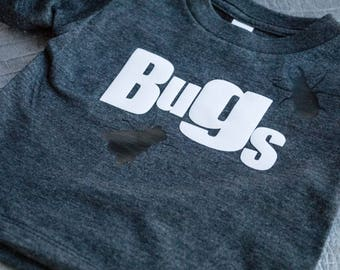 BUGS. Handmade t-shirt with felt lettering.