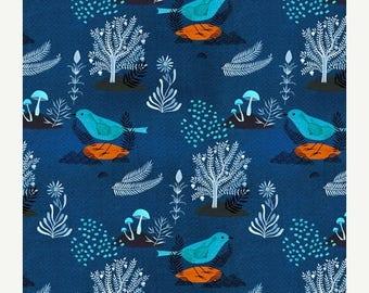 SALE 10% Off - ORGANIC Pomegranate Bird Navy 127612 - MOODY Blues - Cloud9 Fabrics - By the Yard