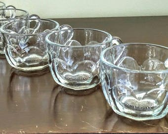 Punch Cups, Set of 4 Clear Glass Cups, Vintage Punch Cups, Antique Depression Glass Cups, Star Starburst bottom, Colonial Punch Cups
