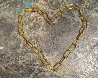 Yellow  chainlink borosilicate glass necklace