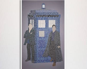 "Doctor Who: Ninth Doctor word art print - 11x17"""