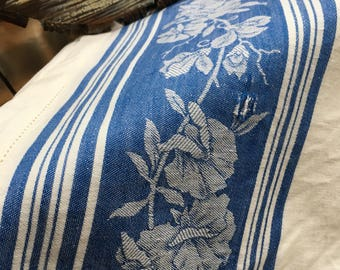 Vintage linen tablecloth blue and white