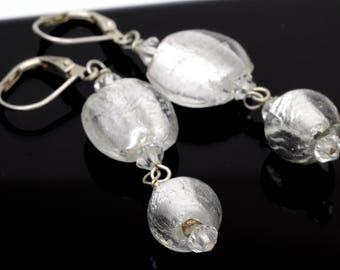 Silver Venetian Glass Round Dangle Earrings on Sterling Silver 925.
