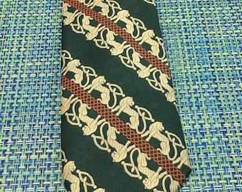 1960's Mens Emerald Green & Orange Wide Textured Diagonal Striped Polyester Necktie with Panther- mens wide necktie, 1960's necktie, tie