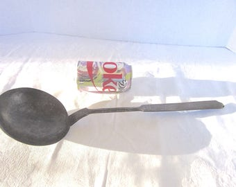 Iron Ladle, Antique, Wrought Iron, 1800s, Hand Forged, Long Handled, Hearth Decor
