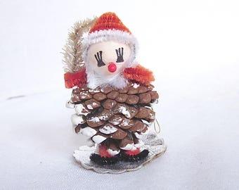 Vintage Christmas Santa Ornament Pinecone Elf Spun Cotton Chenille 1950s