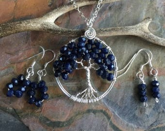 Blue Sapphire Necklace, September Birthstone Necklace, Sapphire Tree of Life Necklace Pendant, Sapphire September Birthstone Earrings