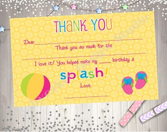 Pool Party Thank You Card Fill-In You Print Instant Download