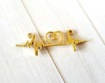 Heart Beat Charm Heart Beat Connector Electorcardiogram Heartbeat Charm Gold Heart Beat Link Heart Beat Link Connector Pendant