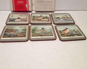 Vintage Pimpernil Acrylic Birds Coaster Boxed 6 Traditional Coasters Cork Backed United Kingdom Celluware