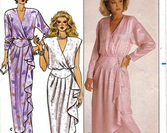 Butterick 3678 Vintage 80s Sewing Pattern for Misses' Evening Wrap Dress - Uncut - Size 16