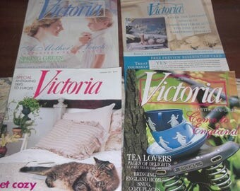 Victoria Magazine 4 Back Issues Romantic Decorating, Fashion Living Group SIX