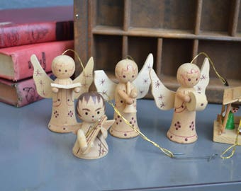 Collection 7 Vintage Christmas Tree Ornaments Vintage Wooden Ornaments Gift Wrapping Small Christmas Decor Lot Angel Wings Jesus Manger