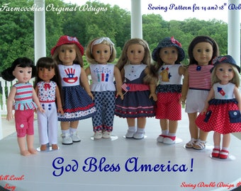 "2 Sizes! XL PDF Sewing Pattern: God Bless America! / Sewing Pattern for BOTH 18"" American Girl  and 14"" Wellie Wishers®"