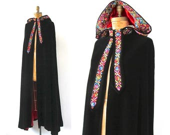 SANT ANGELO Vintage 60s Cape | 1960's Black Velvet Maxi Hooded Cape with Folk Embroidery | Evening Designer, Boho, Hippie Chic | Size Medium