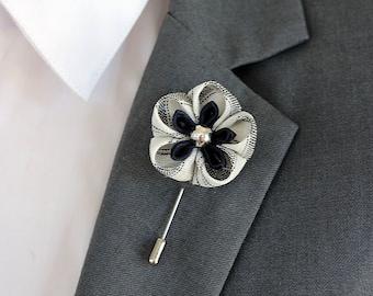 Royal blue daisy lapel pin, Mens lapel flower Boutonniere,Vintage white Lapel Flower pin, boho beach boutonniere flower lapel pin, mens gift