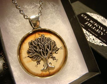 Tree of Life over Compass Pendant Necklace (2426)