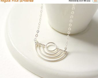 Art Deco Necklace, Silver Half Circle Necklace, Geometric Necklace, Scallop Jewelry, Gifts for Her, Minimalist Necklace, Everyday Necklace