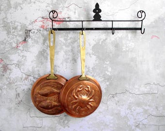 Copper Mold Pans with Brass Handles , Fish Pisces Mold , Crab Cancer Mold , Long Handle Copper Mould Pans , French Country Kitchen Decor