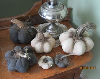 Primitive Black or White Halloween Pumpkins Muslin Pumpkins with Real Dried Stems from Darlas Closet