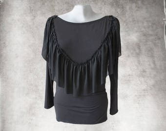 Black ruffle front top/Long sleeve blouse/Boatneck cascade