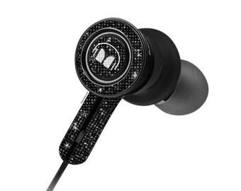 Custom Black Monster Earphones with Swarovski,Bedazzled Earphones with Crystals, Custom earphones, Monster earphones