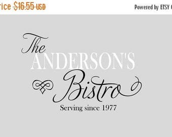 20% OFF Personalized  Bistro  Kitchen Name Cook- Vinyl Lettering wall words quotes graphics decals Art Home decor itswritteninvinyl