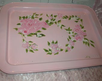 Upcycled Hand Painted Pink Bed Tray W/Roses