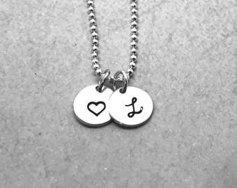 Initial Necklace, Personalized Heart Necklace, Sterling Silver, Letter L Necklace, Hand Stamped Jewelry, All Letters Available, Mother's
