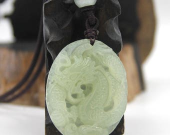Natural Xiuyan Stone Carved Super Powerful Dragon Amulet Talisman Bead Pendant 44mm x 35mm  T2266