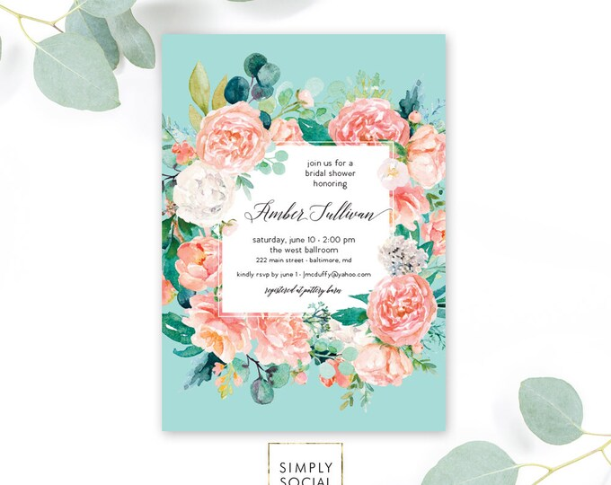Pink Floral Greenery Bridal Shower Invitation - Modern Floral - Baby Shower Invitation - Peony Blush Invitation Watercolor Printable