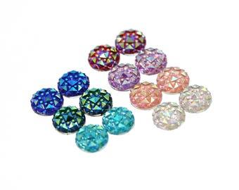 14pcs 10mm Faux Druzy Sampler, Faux Crystal Clusters Cabochons Small DIAMOND Nuggets Flatback Resin Gem Sampler