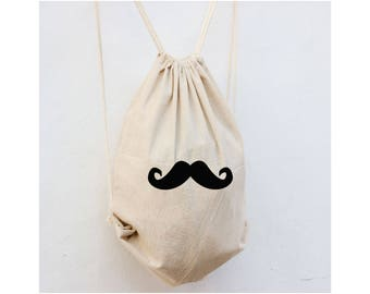 Mustache Backpack, Cinch Backpack, Groomsmen Gift Bags, Ring Bearer Gift Bag, Bridal Party Gift Bags,