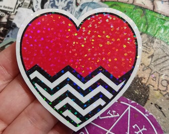 Holographic Sticker - Black Lodge Red Room flag heart