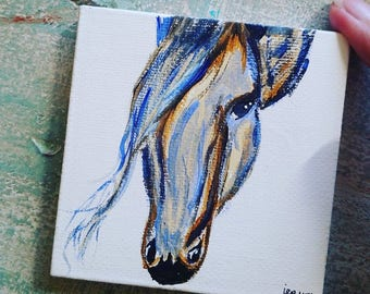 "3""x3"" mini canvas horse magnet"
