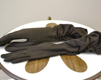 1950s Brown Cotton Ruched Gloves